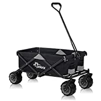 SAMAX Coaster Wagon Garten Trolley Beach Wagon Folding Foldable Hand Cart Trolley Black/Grey