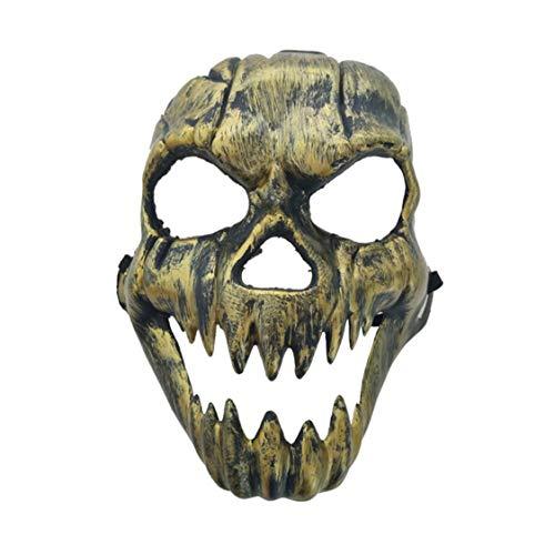 Vige Scary Ghost Mask Halloween-Kostüm Masken Vollmasken Partykostüme Prop Masquerade Zubehör Gesicht Dekor - Gold