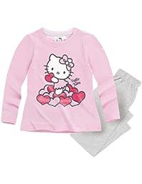 Hello Kitty Kollektion 2017 Pyjama 92 98 104 110 116 122 128 Mädchen Schlafanzug Neu Nachtwäsche Lang Lila-Grau
