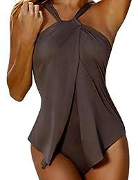 ❤Traje de baño, Ba Zha Hei Sexy Gancho De Vestido De Playa Traje De BañO CeñIdor Mujeres Encantadora Sling BañO Bikini Traje De BañO Hecho A Mano Crochet Empalme Playa Bata Verano 2018