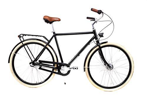 28 Zoll Alu Herren Fahrrad Nostalgie City Bike Shimano 3 Gang Nabendynamo schwarz