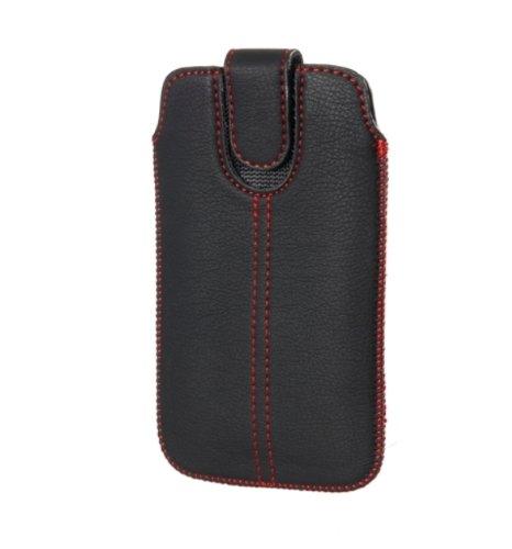 Handytasche Redstripe für Wiko Cink Peax 2 II Handy Tasche Schutz Hülle Slim Case Cover Etui schwarz (ku-x1-restr)