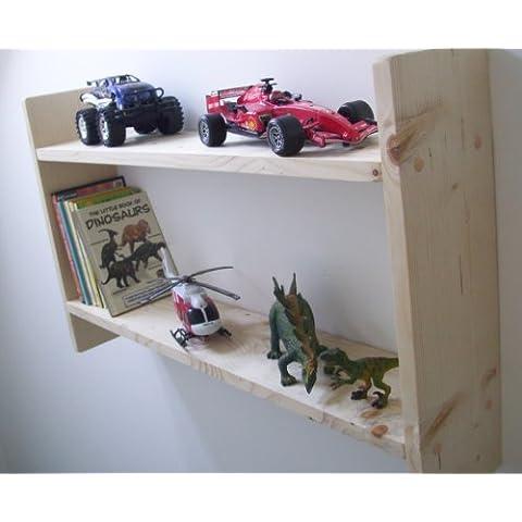 Grande 74 cm extra anchos para hombre estantes de pino para niños Plain, para almacenamiento de DVD, soporte para CD, para niños estantes, muebles para niños, guardar juguetes, diseño con texto en inglés, estantería para libros