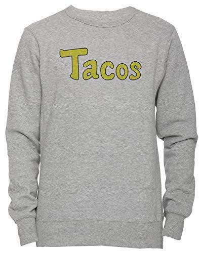 Erido Tacos! Hombre Camiseta Cuello Redondo Gris Manga Corta Tamaño M Men's Women's Jumper Grey Medium Size M