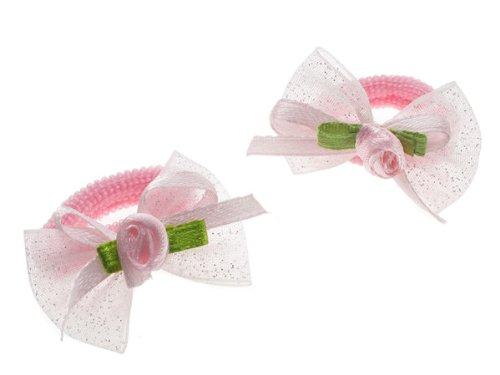 Glitz4Girlz Pale Pink Rosebud Bow Ponios by Glitz4Girlz