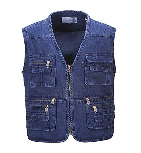 JBHURF Herren Casual Denim Blue Jean Cargo Weste Kurze Arbeitsweste Multi Taschen (Farbe : Blau, größe : L) - Cargo Stil, Jeans