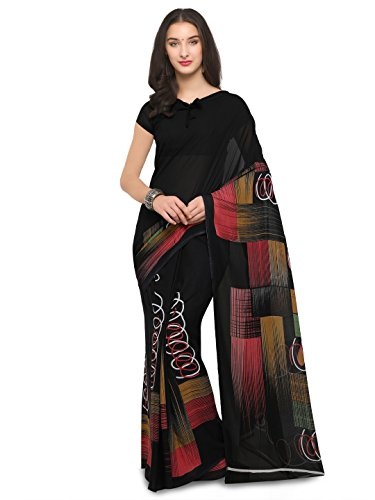 Vaamsi Women's Saree with Blouse Piece (PC1005_Black_One Size)
