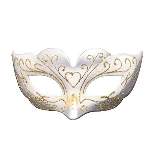 Treeshu Girl Es Halloween Half Maske Mit Federn, Masquerade Maske Hochzeits-Requisiten Mardi Gras Party Maskenkarneval Kostüm Accessoire,White