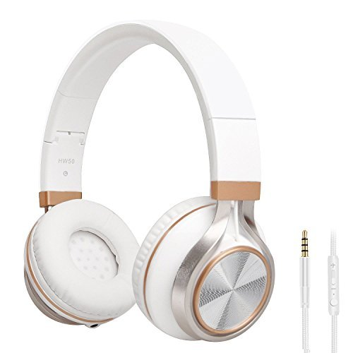 Headphones,BienSound HW50 Stereo Folding Headsets Strong Low Bass Headphones with Microphone for iPhone, All Android Smartphones, PC, Laptop, Mp3/mp4, Tablet Macbook Earphones (White&Gold)