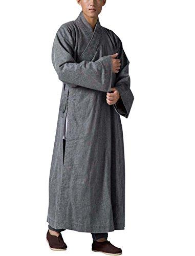 KATUO grau Herren Lang Gewand Traditionelle Meditation Mönch Outfit Bademantel S-3X L Gr. Large, grau (Buddhistischer Kleidung Mönch)