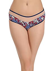 Clovia Womens Cotton Mid Waist Floral Print Hipster with Powenet Waistband (PN1086P24_Beige_Large)