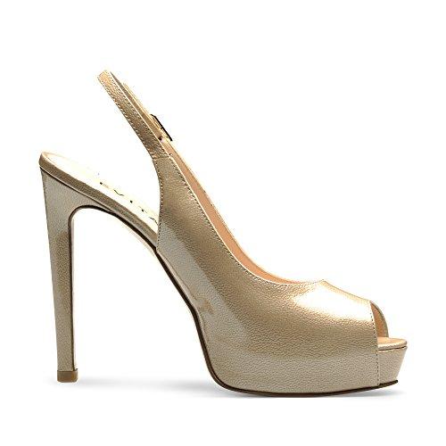 BEPPINA Damen Sandalette Lack mit Prägung Beige