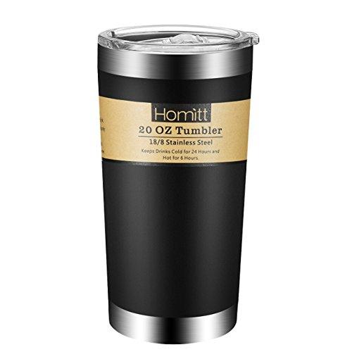 Homitt 20 OZ Taza de Viaje de acero inoxidable Doble Pared,Vaso Termico, Travel Mug Diseño de Revestimiento de Polvo con tapa deslizante Antideslizante para Bebidas frías y calientes-Negro