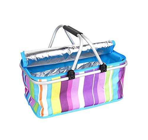 Cestino da picnic cestino for la spesa pieghevole for picnic borsa for l'isolamento termico borsa for picnic all'aperto con doppio manico for picnic picnic di viaggio per feste all'aperto in famiglia
