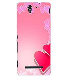 ColourCraft Love Hearts Design Back Case Cover for SONY XPERIA C3 D2533