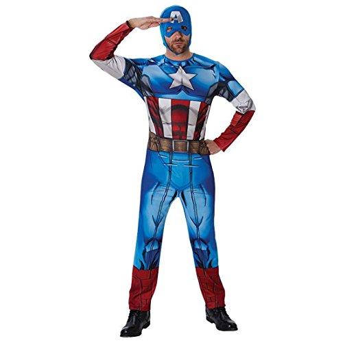 stüm Captain America Kostüm M/L 48/54 Marvel Avengers Superheldenkostüm Comic Helden Faschingskostüm Superheld Karnevalskostüm Herren Amerika Heldenkostüm (Marvel Helden Captain Marvel Kostüm)