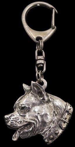 American Staffordshire Terrier (with collar), Silber gepunzt 925, Hund, Silber, Schmuckanhänger, Anhänger, Schlüsselanhänger, Limitierte Edition, Art Dog -