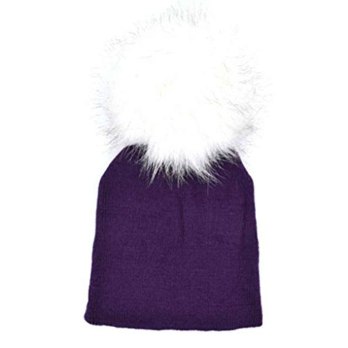 Bobury Kinder Mädchen Jungen Pompom Solid Color Hat Crochet Gestrickte Ball Herbst Winter Beanie Bonnet (Solid Gestrickt Color)