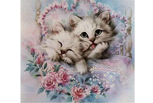 i Tier Kreuzstich Hand Kit Voller Diamanten Stickerei Blumen Quilts Katze Muster Bild (runde diamanten 40 * 50 vm) ()