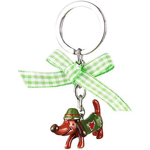 Gift Company portachiavi a forma di bassotto, marrone/verde, Piombo pressione in ghisa, marrone/verde, L8, 5/5 cm - Piombo Portachiavi