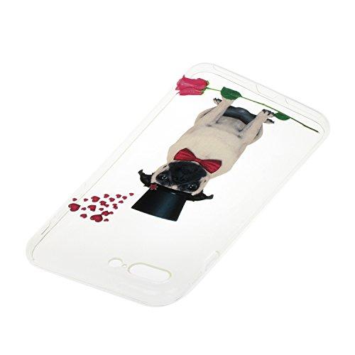 Etsue TPU Schutzhülle für iPhone 7 Plus 2016 Silikon Handyhülle Case Cover, iPhone 7 Plus 2016 Muster Ultradünnen Weiche Kristall Klar Durchsichtig Rückseite Tasche Etui Bumper Kratzfeste, Einzigartig Komisch Hund,Rot Rose Blumen