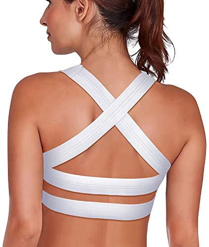 SHAPERX Damen Sport-BH, gepolstert, atmungsaktiv, hohe Stoßfestigkeit, Criss Cross Back Yoga BH - Weiß - small