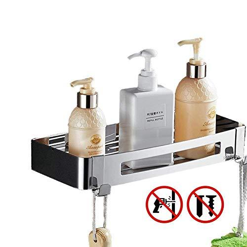 Bagno doccia da bagno rettangolare angolo mensola organizzatore nessun danno installazione, multifunzionale Combo cesta per accessori per bagno e cucina, in acciaio INOX