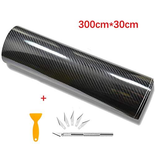 Kaliwa 6D Carbon Folie, selbstklebend Autofolie aus Carbon Vinyl, flexibel Auto Shutz Folie(300cm*30cm)