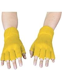 Handschuhe gestrickt, fingerlos, gelb