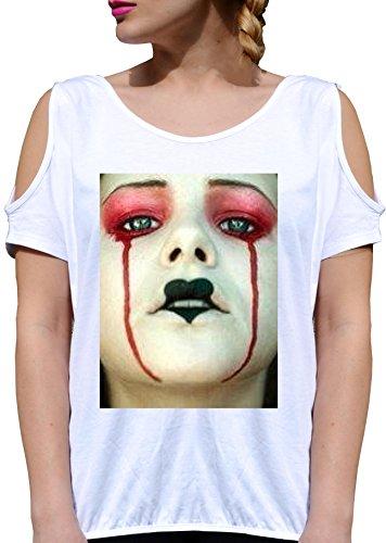 T SHIRT JODE GIRL GGG27 Z1711 QUEEN OF HEARTS GIRL BEAUTY MAKEUP ALICE FUNNY FASHION COOL BIANCA - WHITE XL
