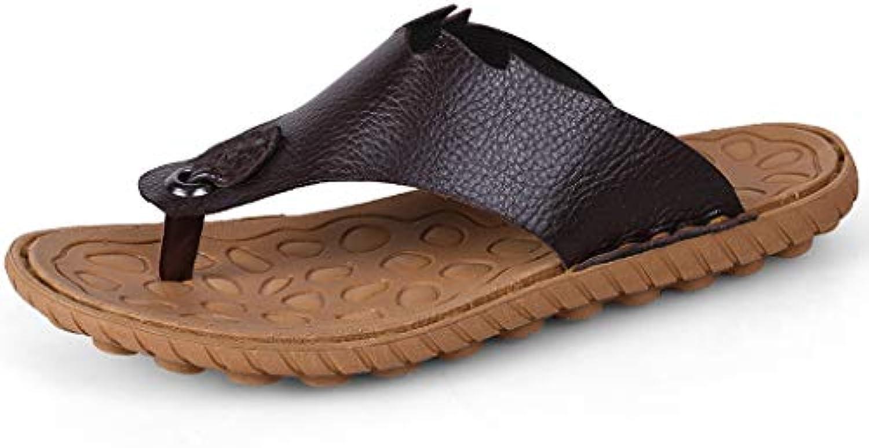 1d05db7c32b3 QAR QAR QAR Pantofole in Pelle Marronee Moda Casual da Uomo Sandali Scarpe  da Spiaggia All