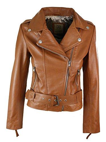 8caa4f5a8e97 Giacca da Donna Chiodo in Vera Pelle Stile Biker Vintage con Cintura in  Vita nocciola S