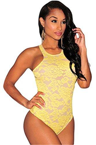 Tailloday Damen Blumen Embroidered Einteiliger Rückenfrei Bodysuit Mit für Nachtclub Gelb