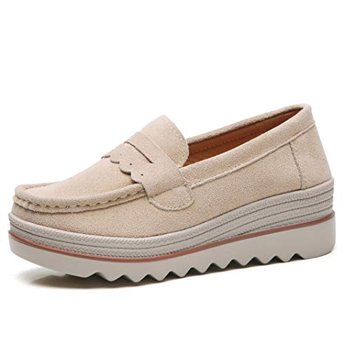 Womens Slip On Loafers Schuhe Breite Breite Komfort Wildleder Mokassins Loafer Fashion Casual Wedge Platform Sneakers