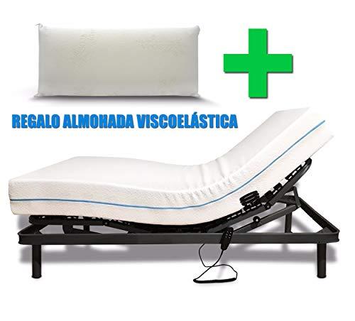 Duermete Pack Premium Cama Articulada Reforzada 5 Planos + Colchón Dorsal Viscoelástico Regalo Almohada Visco Soja Active, 90x190