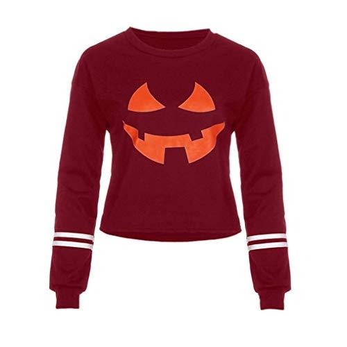 Qiusa Frauen Rundhals Halloween Grimasse Kürbis Print Langarm Casual Sweatshirt Tops (Farbe : 1-red, Größe : CN MUK 6)