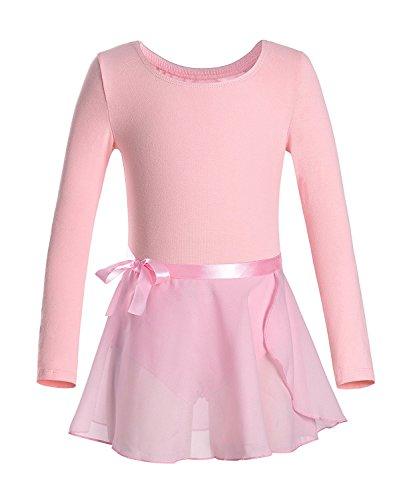 Mangotree Ballettanzug Turnanzug Langarm Ballett Body Trikot Kleid Mädchen Tanzen Gymnastik Ballett Grundausstattung mit Wrap-Round Rock (150 (8-10 Jahre Alt), Rosa)