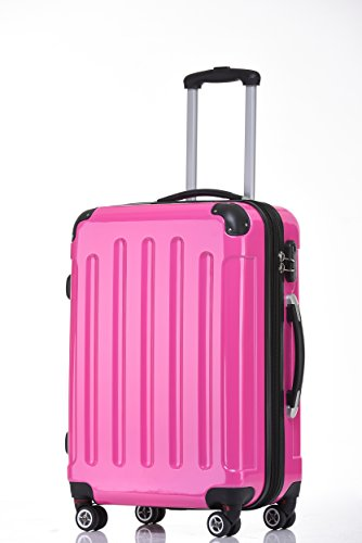 BEIBYE Zwillingsrollen 2048 Hartschale Trolley Koffer Reisekoffer in M-L-XL-Set in 17 Farben PINK