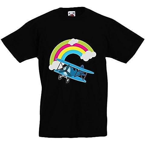 Bambini Collezione 207, Fruit of the Loom Valueweight Tee Nero Bambino Ragazzo Maglietta Kids Boys Stampa T-Shirt. Taglia 92 98 104 116 128 140 152 164, 1-15
