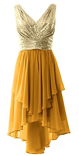 MACloth Women Straps V Neck Sequin Chiffon High Low Prom Dress Formal Party Gown Champagne-Gold