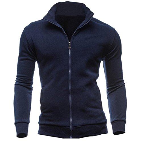 Herren Mantel Sonnena Winterjacke Lange Ärmel Sweatshirt Slim fit Sweatjacke Wintermantel Tradition Stil Warm Pullover T-Shirt Reißverschluss Outwear Stehkragen Parka (Asian 2XL, Navy blau) (Navy Blauen Anzug-jacke)