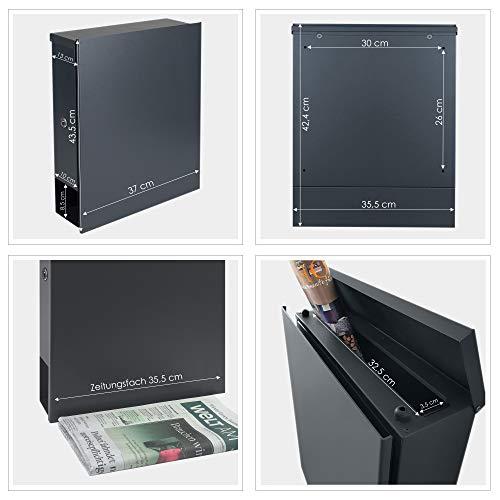 MOCAVI Box 111R Design-Briefkasten mit Zeitungsfach anthrazit-grau (RAL 7016) Wandbriefkasten, Schloss links, groß, Aufputzbriefkasten dunkelgrau, Postkasten anthrazitgrau modern mit Zeitungsrolle - 6