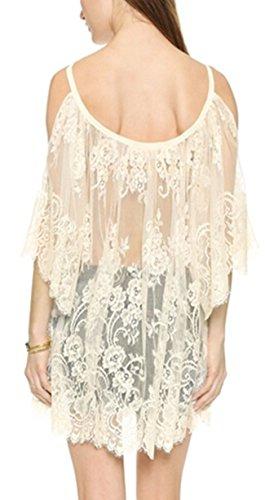 ZANZEA Sexy Femme Dentelle Crochet Vintage épaule nu débardeur Boho blouse robes plage Top shirt Beige