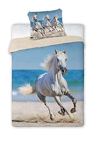 Bettwäsche mit Pferdemotiv, Pferd am Strand Bettwäsche 100 % Baumwolle, 140 x 200 cm, 70 x 90 cm