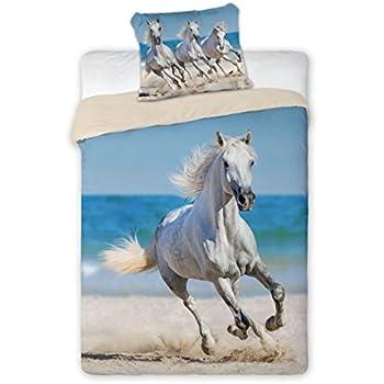 bettw sche mit pferdemotiv pferd am strand bettw sche 100 baumwolle 140 x 200 cm 70 x 90 cm. Black Bedroom Furniture Sets. Home Design Ideas
