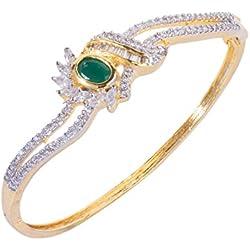 Bling N Beads Designer Gold plated american diamond Bracelet For Women Gift For Birthday Anniversary Diwali Karvachauth