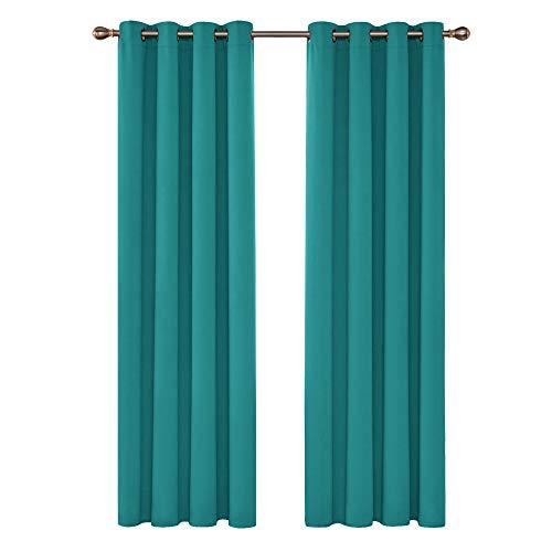 Deconovo tende oscuranti termiche isolanti con occhielli per interni 140x260 cm turchese 2 pannelli