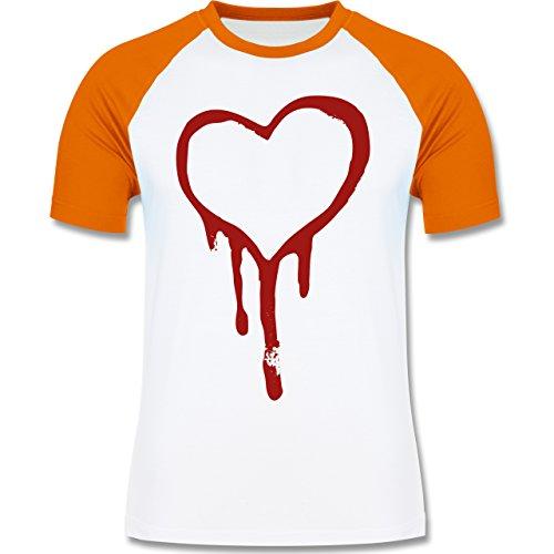 Symbole - Blutendes Herz - bloody heart - zweifarbiges Baseballshirt für Männer Weiß/Orange