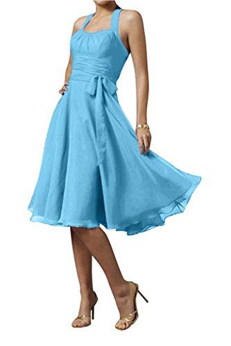 Gorgeous Bride Modern Chiffon Knielang Neckholder Schleife Cocktailkleid Partykleid Abendkleid Blau