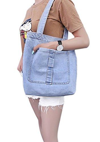 Neue Art Jeansstoff Damentasche Robuste Schultertasche für Shopping Freizeit Casual Henkeltasche Lady Bag Einkaufstasche Shopper Hellblau